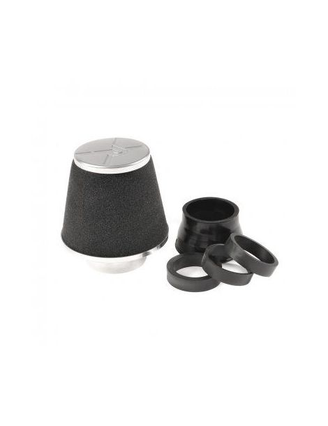 Filtre PIPERCROSS avec chapeau alu, connexion alu diametre: 88.5mm et 4 réducteurs 60, 65, 70, 75mm