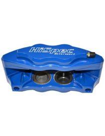 Etrier HISPEC BILLET 4 pistons 38.6mm fixation radiale pour disque épaisseur 28mm diamètre 260 à 300mm, coloris BLEU