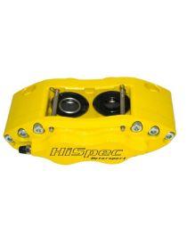Etrier HISPEC BILLET 4 pistons 38.6mm fixation radiale pour disque épaisseur 28mm diamètre 260 à 300mm, coloris JAUNE