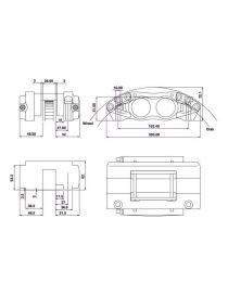 Etrier HISPEC BILLET 4 pistons 41.2mm fixation radiale pour disque épaisseur 26mm diamètre 260 à 300mm, coloris ARGENT