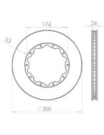 Disque de frein HISPEC 300x26mm fixation rigide 10x176mm, finition rainures droites