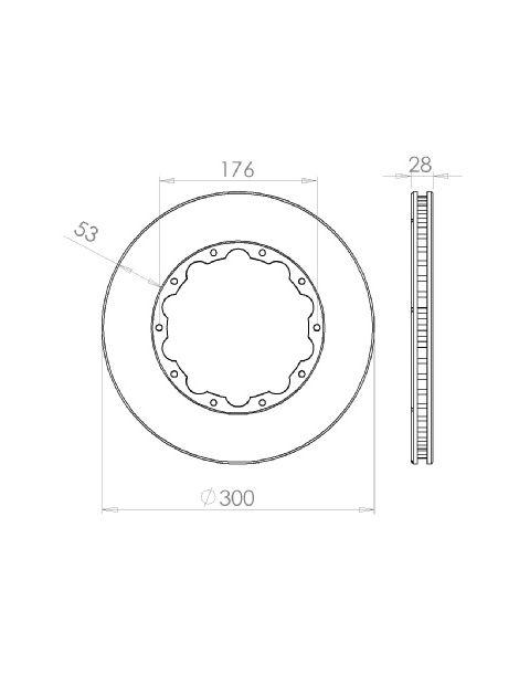 Disque de frein HISPEC 300x28mm fixation rigide 10x176mm, finition rainures droites