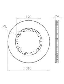 Disque de frein HISPEC 310x24mm fixation rigide 10x190mm, finition rainures droites