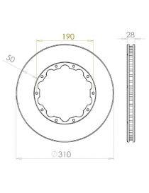 Disque de frein HISPEC 310x28mm fixation rigide 10x190mm, finition rainures droites