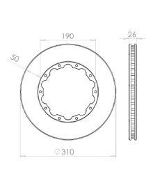 Disque de frein HISPEC 310x26mm fixation rigide 10x190mm, finition rainures droites
