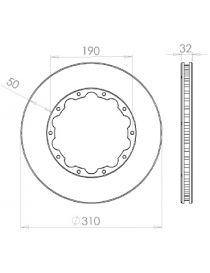 Disque de frein HISPEC 310x32mm fixation rigide 10x190mm, finition rainures droites