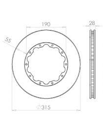 Disque de frein HISPEC 315x28mm fixation rigide 10x190mm, finition rainures droites