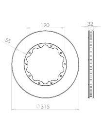 Disque de frein HISPEC 315x32mm fixation rigide 10x190mm, finition rainures droites