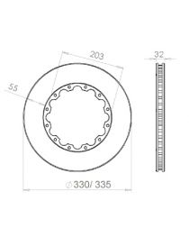Disque de frein HISPEC 330x32mm fixation rigide 12x203mm, finition rainures droites