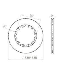 Disque de frein HISPEC 330x26mm fixation rigide 12x203mm, finition rainures droites