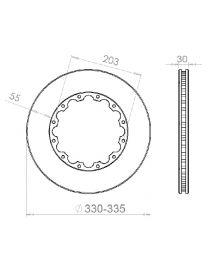 Disque de frein HISPEC 335x30mm fixation rigide 12x203mm, finition rainures droites
