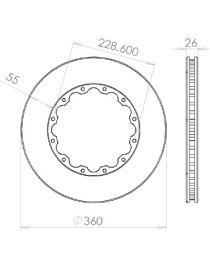 Disque de frein HISPEC 360x26mm fixation rigide 12x228.6mm, finition rainures droites