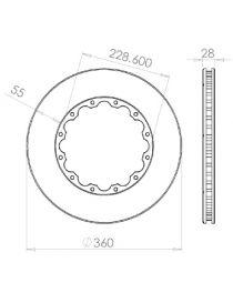 Disque de frein HISPEC 360x28mm fixation rigide 12x228.6mm, finition rainures droites