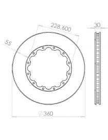 Disque de frein HISPEC 360x30mm fixation rigide 12x228.6mm, finition rainures droites