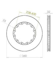Disque de frein HISPEC 360x32mm fixation rigide 12x228.6mm, finition rainures droites