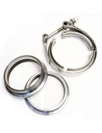 "63.5mm - Kit 2 brides 2.5"" V-Band centrées inox avec collier inox"