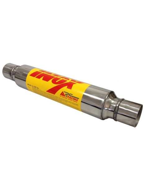 Silencieux inox RC RACING à souder, corps 129mm, tube 50mm intérieur, longueur 450mm