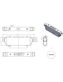 Intercooler aluminium BREEZY 400x140x65mm connexions : 63mm