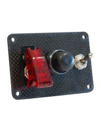 Platine de démarrage en carbone avec 1 bouton poussoir et 2 interrupteurs