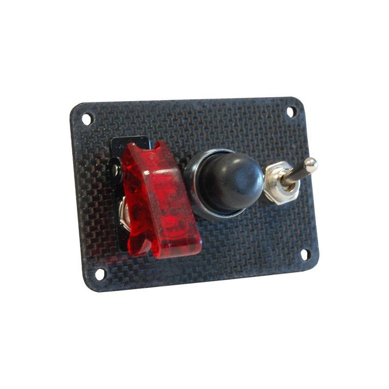 platine de d marrage en carbone avec 1 bouton poussoir et 2 interrupteurs dont dont un capuchon. Black Bedroom Furniture Sets. Home Design Ideas