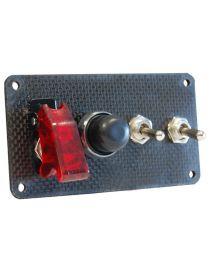 Platine de démarrage en carbone avec 1 bouton poussoir et 3 interrupteurs