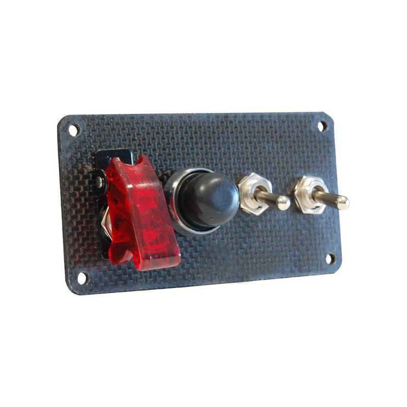 platine de d marrage en carbone avec 1 bouton poussoir et 3 interrupteurs dont dont un capuchon. Black Bedroom Furniture Sets. Home Design Ideas