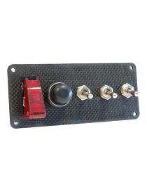 Platine de démarrage en carbone avec 1 bouton poussoir et 4 interrupteurs