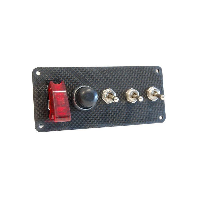 platine de d marrage en carbone avec 1 bouton poussoir et 4 interrupteurs dont dont un capuchon. Black Bedroom Furniture Sets. Home Design Ideas