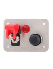 Platine de démarrage en aluminium avec 1 bouton poussoir, 1 interrupteur et 1 voyant