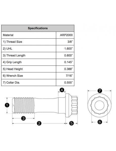 """Kit 8 vis de bielle renforcées ARP2000 3/8"""" x 40.6mm"""