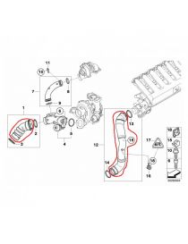 BMW 335D (E90, E91, E92) M57D30 286cv 09/2006-12/2011 Kit 2 durites air silicone REDOX