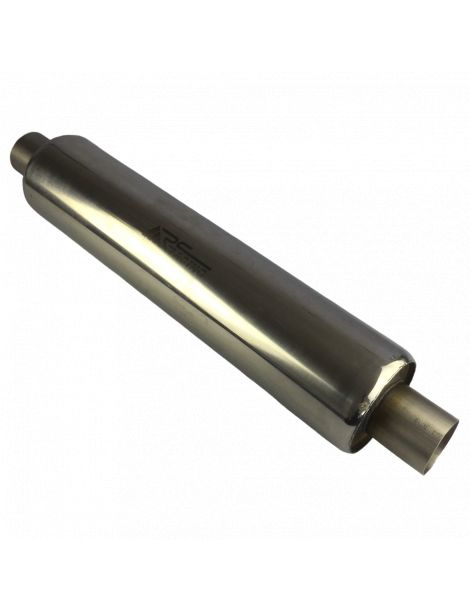 63.5mm - Silencieux inox RC RACING à souder, corps 129mm, longueur 590mm