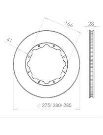 Disque de frein HISPEC 275x28mm fixation rigide 8x166mm, finition rainures droites
