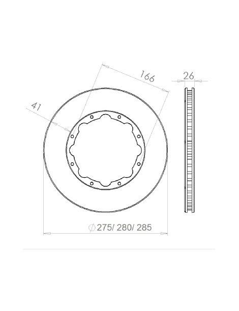 Disque de frein HISPEC 280x26mm fixation rigide 8x166mm, finition rainures droites
