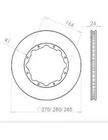 Disque de frein HISPEC 285x24mm fixation rigide 8x166mm, finition rainures droites