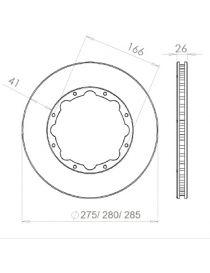 Disque de frein HISPEC 285x26mm fixation rigide 8x166mm, finition rainures droites