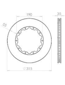 Disque de frein HISPEC 315x35mm fixation rigide 10x190mm, finition rainures droites