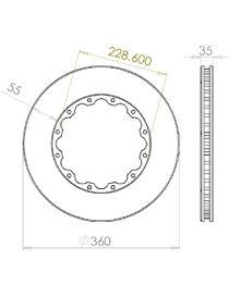 Disque de frein HISPEC 360x35mm fixation rigide 12x228.6mm, finition rainures droites