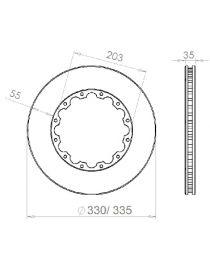 Disque de frein HISPEC 330x35mm fixation rigide 12x203mm, finition rainures droites