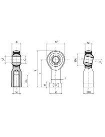 Rotule renforcée RODOBAL M16 (16x200) femelle pas à droite