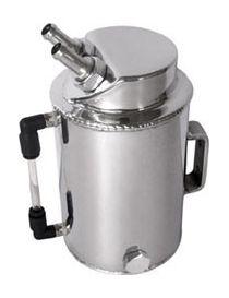 Récupérateur d'huile / Catchtank (1 litre) en aluminium, connexions lisses obliques