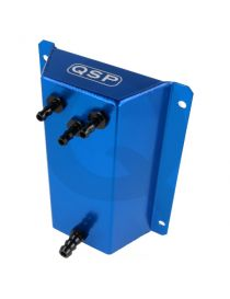Boîte tampon / Catchtank essence (1 litre) en aluminium anodisé bleu, connexions lisses