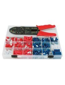 Coffret de 540 cosses électrique pré-isolées pour fils de 0.5 à 2.5mm2, avec pince à sertir