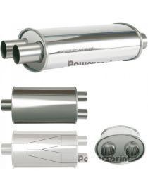 50mm - Silencieux inox POWERSPRINT double entrées/simple sortie à souder, corps 230x140mm, longueur 360mm
