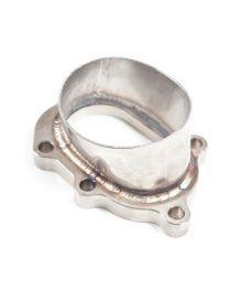 Bride descente GARRETT T25 5 trous acier soudé adaptateur oval inox pour tube à souder 76mm