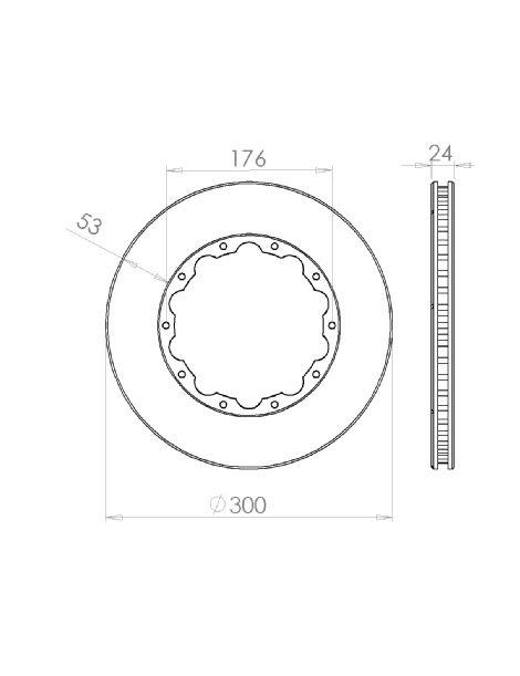 Disque de frein HISPEC 300x24mm fixation rigide 10x176mm, finition rainures droites
