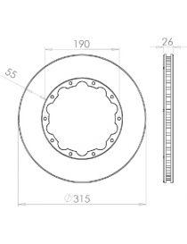 Disque de frein HISPEC 315x26mm fixation rigide 10x190mm, finition rainures droites