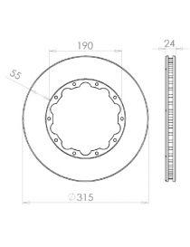 Disque de frein HISPEC 315x24mm fixation rigide 10x190mm, finition rainures droites