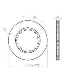 Disque de frein HISPEC 335x28mm fixation rigide 12x203mm, finition rainures droites