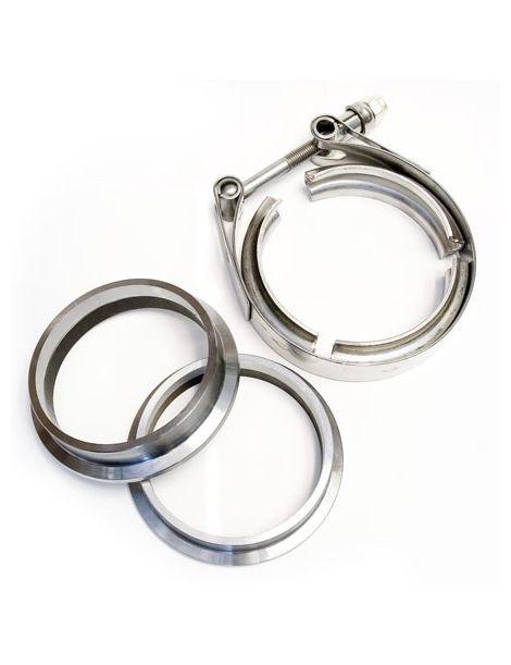 """Kit 2 brides V-Band 2,5"""" acier avec collier inox, pour tube diamètre 63mm"""